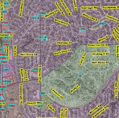 Figure 1: A snapshot of the zoning districts near Constitution Avenue and Murray Boulevard