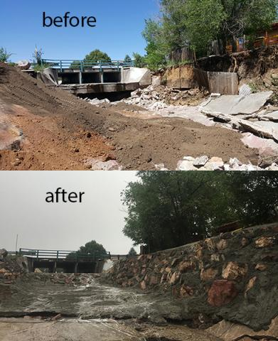 Before and after picture of channel stabilization work at maizeland and Radiant
