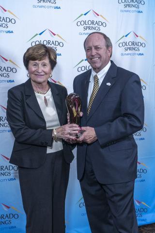 Mary Ellen McNally and Mayor John Suthers